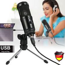 USB Kondensatormikrofon Aufnahmestudio Mikrofon mit Stativ Plug für PC Laptop