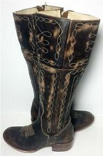 FREEBIRD By Steven Drover Wang Brown Leather Riding Biker Boots Women's Size 6