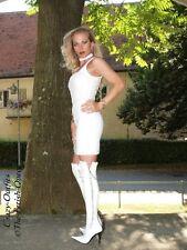 Ledertop cuero top blanco sin mangas tirantes, hecha a medida