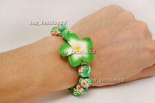 1pcs Green Flower Handcraft Polymer Clay Bead Stretch Bracelet Gift FREE