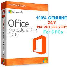 Microsoft Office 2016 Pro Professional Plus Original 32/64 Bit for 5 PC
