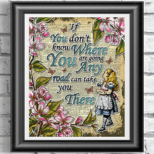 ART PRINT ON ORIGINAL ANTIQUE BOOK PAGE Alice in Wonderland Quote Dictionary