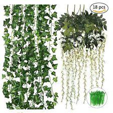 12× Artificial Ivy Vines Leaves & 6× White Fake Wisteria Vines  & 100 Twist Ties