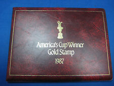 23k gold America's Cup Winner stamp 1987 booklet in folder. Very Collectible