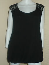 NEW FREE PEOPLE BLACK LOLITA BOHO ANTHROPOLOGIE TUNIC TANK TOP LACE S $78 LARGE