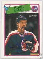 DOUG SMAIL WINNIPEG JETS 1989 O P C  AUTOGRAPHED HOCKEY CARD JSA