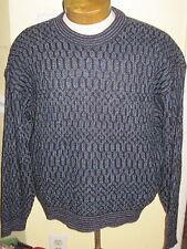 JHANE BARNES CREW NECK MULTI COLOR BLUE WOOL PULLOVER SWEATER XL