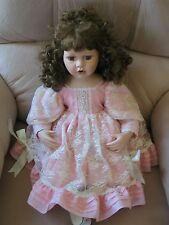 Court of Dolls Porcelain Girl Doll Pink Outfit Auburn Hair Sitting Position Rare