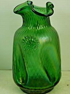 VERY BEAUTIFUL OLD GREEN GLASS LUSTRE VASE POSSIBLY LOETZ / KRALIK VERY RARE   S