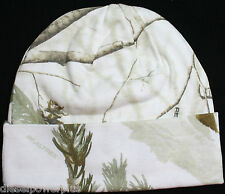 real tree hunting cap hat stocking White Snow camo tobogan lined realtree beanie