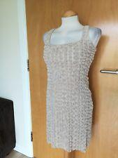 Ladies ZARA Dress Size S 8 10 Cream Rosette Wiggle Pencil Party Evening