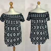 New - Yours - Black & White Ikat Print Jersey Smock Bardot Top- Plus SIze 16-28