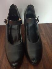 Damas Tacón Medio Tacón Negro Pesado bailando Zapatos Talla EU 39 UK 6