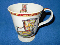"""BEAUTIFUL PORCELAIN CERAMIC 4 1/2"""" FOOTED COFFEE CUP MUG W/ ANTIQUE CHAIRS NICE"""