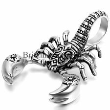 Mens Womens Stainless Steel Scorpion Biker Pendant Necklace Jewelry Xmas Gift