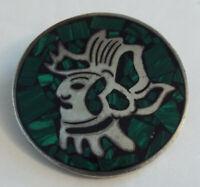 Vintge MALACHITE Sterling Silver Aztec Warrior Pendant Brooch Pin MEXICO 925 17g