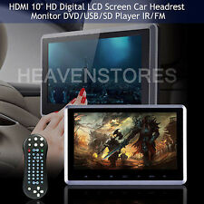 "10"" HD Digital LCD Touchscreen Car Headrest Monitor DVD/USB/SD Player IR/FM Game"
