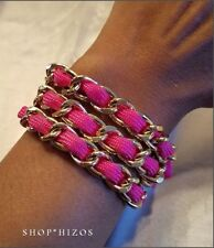FUCHSIA PINK TRIPLE ROPE GOLD CHAIN LINK TOGGLE BRACELET NEW