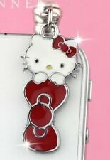 Cute Kawaii Love Hello Kitty Red Bow Phone Charm Plug Anti-Dust Jack Earphone