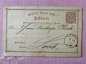Karte Ganzsache - DR - Mi P 1 - 1/2 Groschen braun - Stempel Herne - 1874