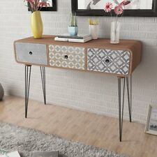 vidaXL Console Table with 3 Drawers Brown Side Steel Legs Hallway Display Desk