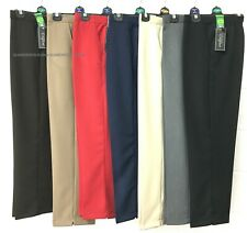 Ladies Women Half Elasticated Waist Trouser With Pockets Plus Size Work School