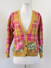 Vtg 90s Mustard Yellow Pink Plaid Floral Cardigan Sweater Size S Retro