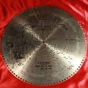 "Antique REGINA Music Box 15.5"" Metal Disc #1453 ROCK OF AGES Hymn"