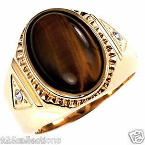 14 X 10 mm Oval Cut Brown Gold Plated Semi-Precious Tiger Eye Men's Ring Size 14