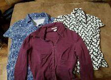 Lot of 3 womens shirts short and long sleeve med shirts