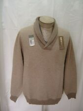 Daniel Cremieux Mens 100% Cashmere Sweater Shawl Elbow Patch Beige Brown XL $300