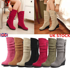 Womens Winter Fold Suede Zipper Mid Calf Boots Ladies Platform Heel Shoes Size