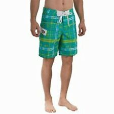 NWT $50 GOTCHA MENS SWIM / BOARD SHORTS -  AQUA PLAID - SIZE 33