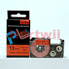 "Compatible Casio XR-12RD Black on Red 1/2 x 26"" Label Tape 12mm 8m EZ Lable"