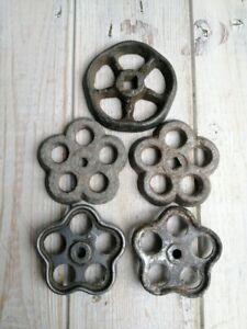 Lot of Five Small Vintage Water Tap Handles Spigot Valve Handles Garden Art.