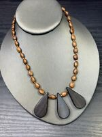 Ladies Vintage Bohemian Light Weight  Brown Quality Wood Beaded Necklace  16""