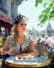 Breakfast in Paris Oil Painting Giclee Art Printed on canvas L2134