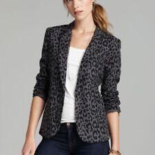 Joie women Brand new Linen black gray animal print leopard blazer sz 4 NEW