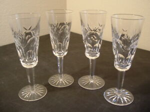 "EXCELLENT SET OF 4 WATERFORD CRYSTAL ASHLING 7 3/8"" FLUTED CHAMPAGNE GLASSES"