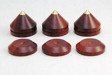 4sets 33mm Rose Wood Feet Spike W Brass Base Speaker Amp Radio Cabinet CD Player