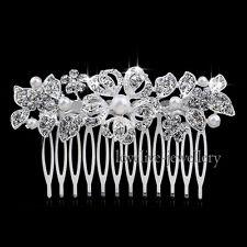 Sparkling Silver Bridal Wedding Tiara Crystal Rhinestone Pearl Flower Hair Comb