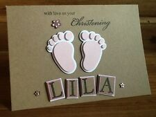 Handmade personalised christening card - girl