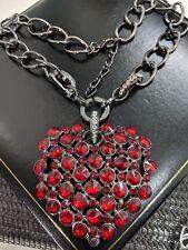 Statement Black Sparkly Gothic Massive Red Rhinestone Heart Pendant Necklace