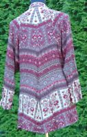 Band Of Gypsies, Anthropologie Floral Long Sleeve Open Flowing Tunic Size XS