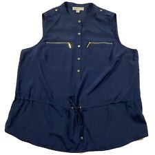 Michael Kors Size 18W Navy Sleeveless Blouse W Drawstring, Gold Buttons, Zippers