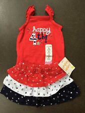 Girls Happy 4th of July Outfit 9 Months Tank Bodysuit Tiered Skirt NEW NWT