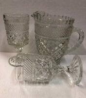 Large Diamond Cut Vintage Glass Water pitcher 2 Footed  Glasses Tumblers Set 5.5