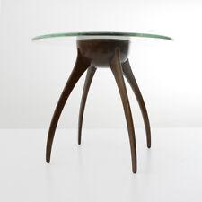 Tavolino con piano in vetro e portaoggetti in rame anni '40, italian design, 40s
