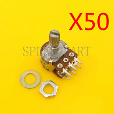 50pcs B20K Ohm Dual Linear Potentiometer Pot 15mm Shaft 6 Pins Wholesale