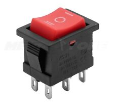 1 Pc Dpdt Mini Rocker Switch On Off On Red Button Kcd1 6a250vac Usa Seller
